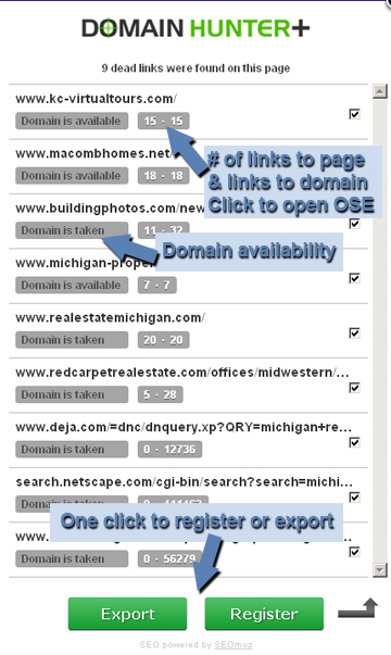 domain hunter plus broken link building