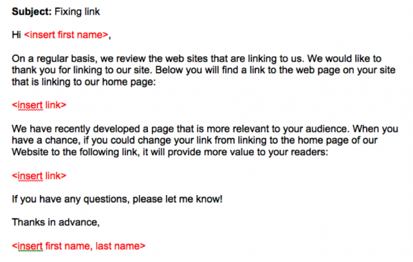 broken link building outreach email template